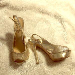 Gold platform stilettos